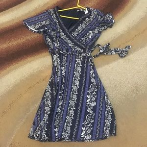 Navy blue floral dress never worn